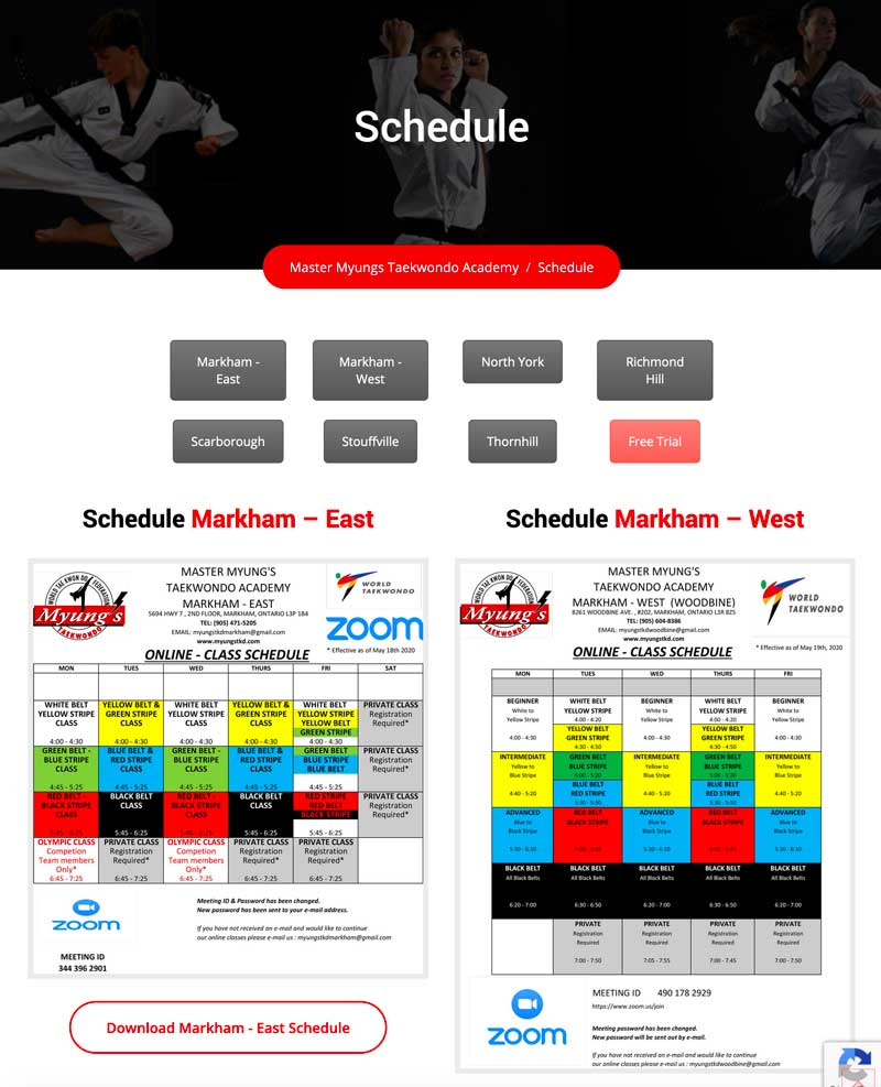 myungs taekwondo schedule