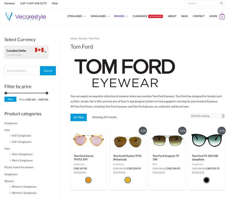 vecarestyle eyeglasses tom ford